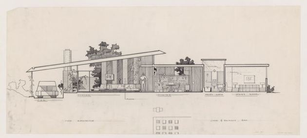 A. Quincy Jones and Frederick E. Emmons, Architects. Milton S. Tyre House, Los Angeles, California, 1951-54