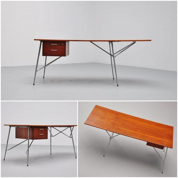 borge mogensen - drop leaf desk  by Soborg Denmark 1950 - teak and metal