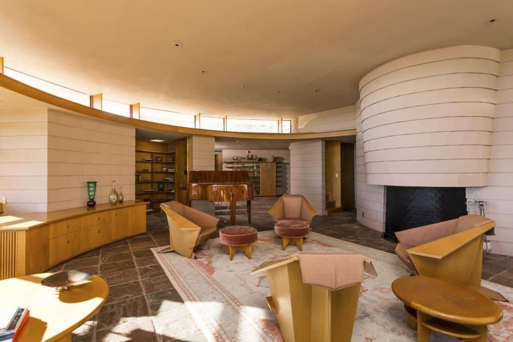 Frank Lloyd Wright Norman Lykes home arizona living room fire place