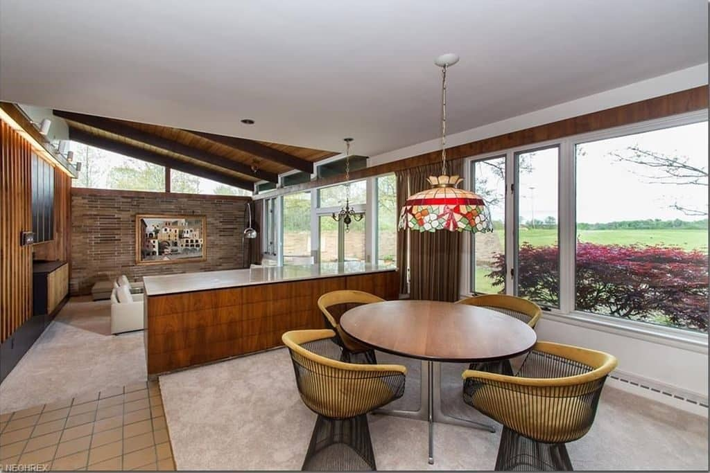 mid century house Cuyahoga Valley architect E. Keith Haag dining area inside