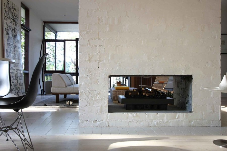 Mid Century at Pearl Beach by Brian Mazlin living room fire place brick