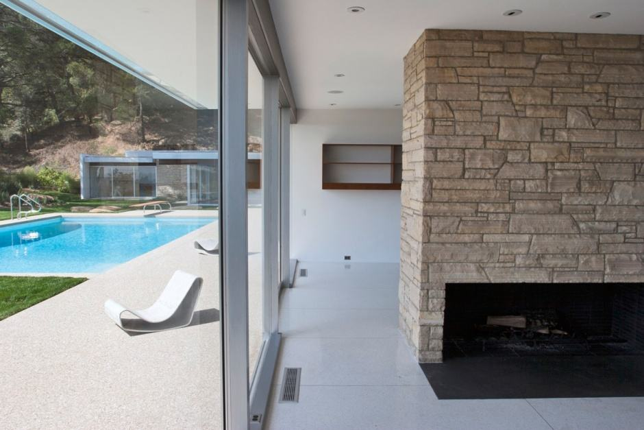Richard Neutra Singleton Residence interior fireplace