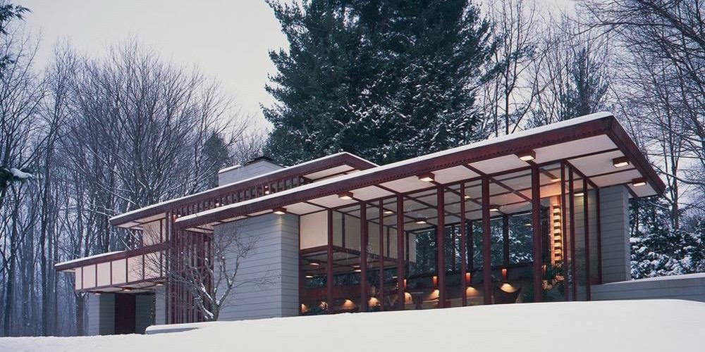 The Frank Lloyd Wright's Penfield House exterior winter