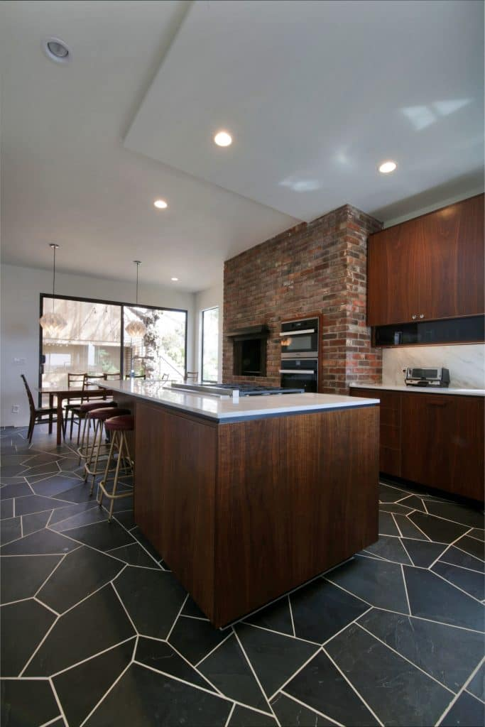 mid-century house san diego Kitchen Island and Upper
